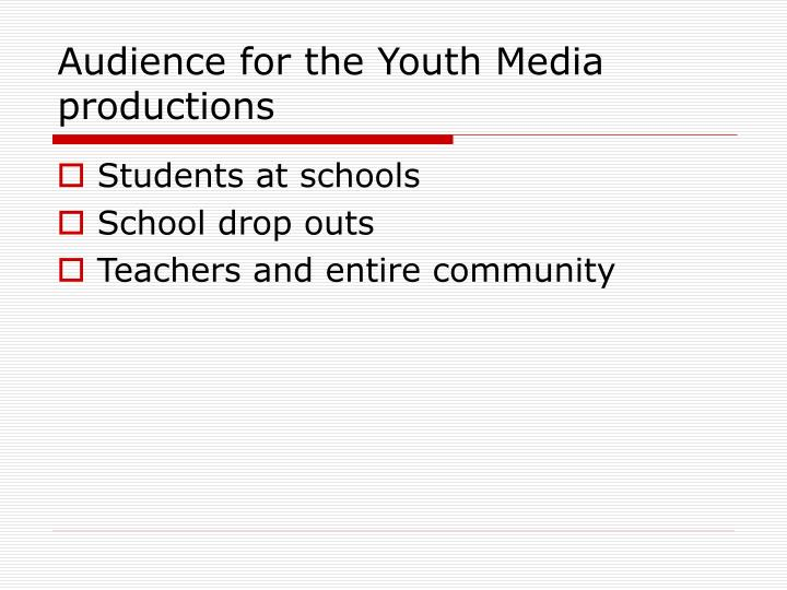 Audience for the Youth Media productions