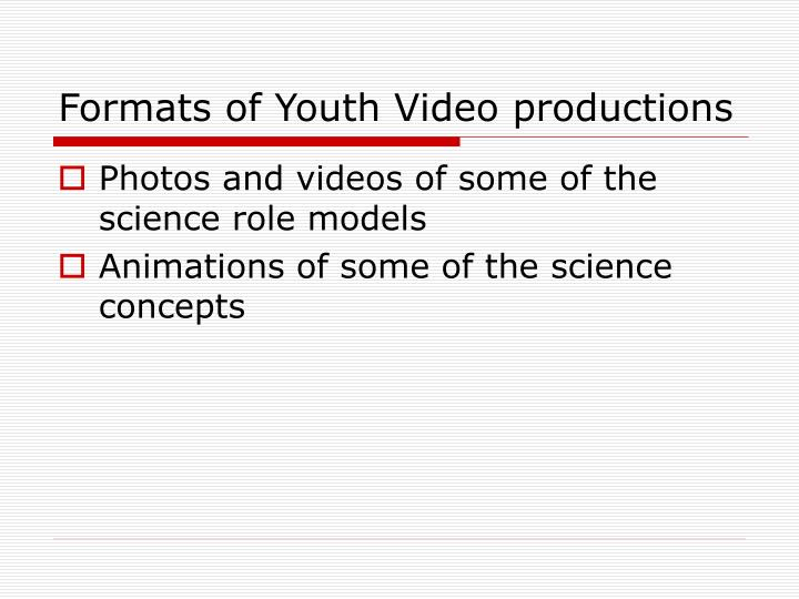 Formats of Youth Video productions
