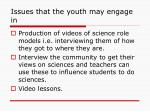 issues that the youth may engage in