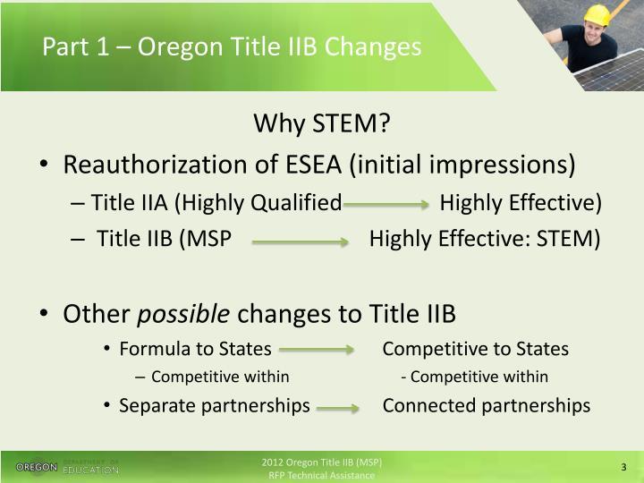 Part 1 – Oregon Title IIB Changes