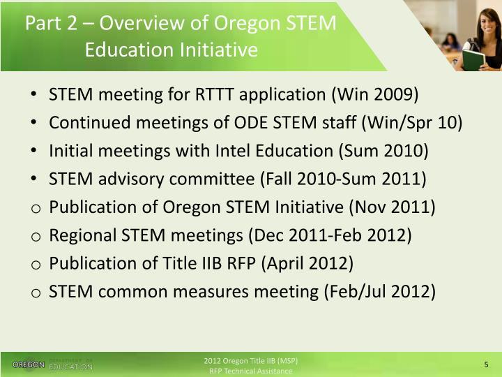 Part 2 – Overview of Oregon STEM Education Initiative