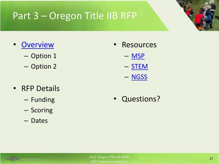 Part 3 – Oregon Title IIB RFP