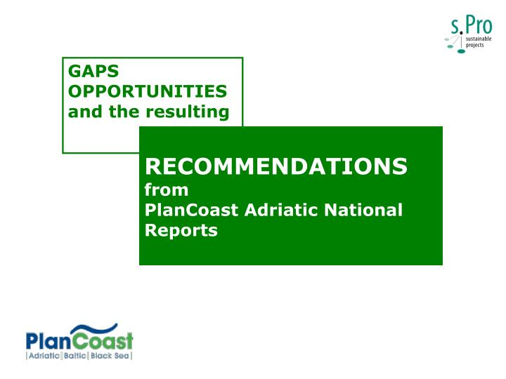 recommendations from plancoast adriatic national reports