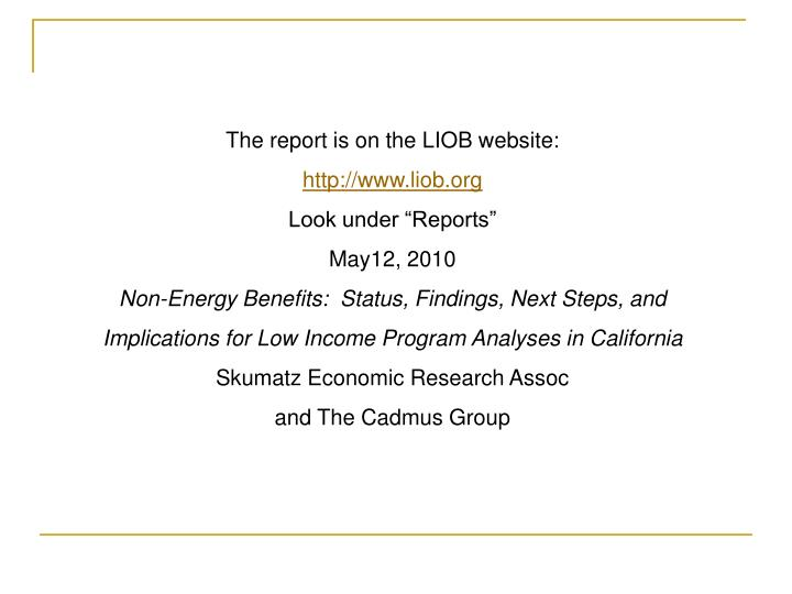 The report is on the LIOB website: