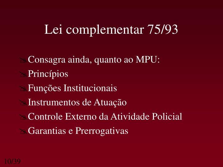 Lei complementar 75/93