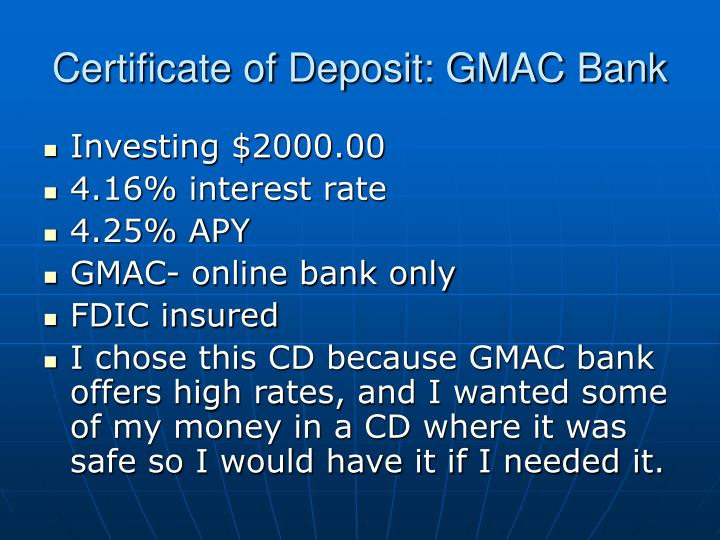 Certificate of Deposit: GMAC Bank