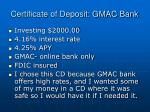 certificate of deposit gmac bank