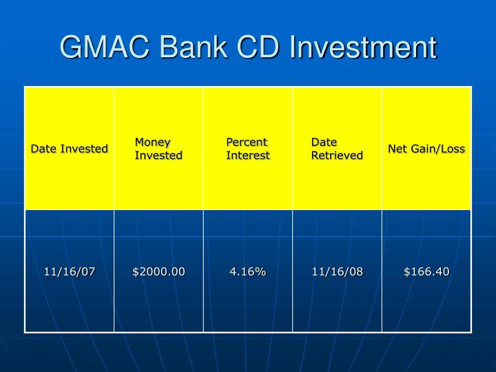 GMAC Bank CD Investment