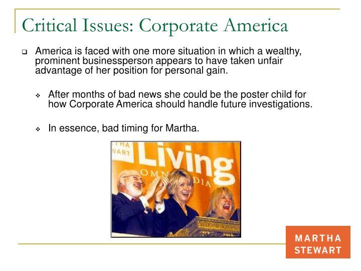 Critical Issues: Corporate America