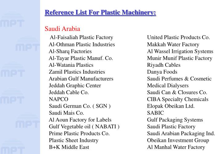 Reference List For Plastic Machinery: