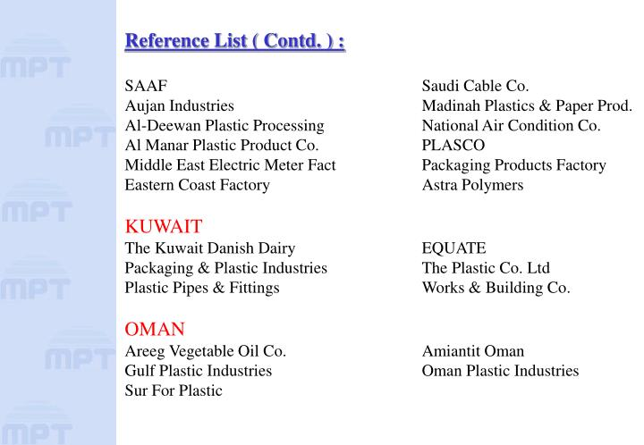 Reference List ( Contd. ) :