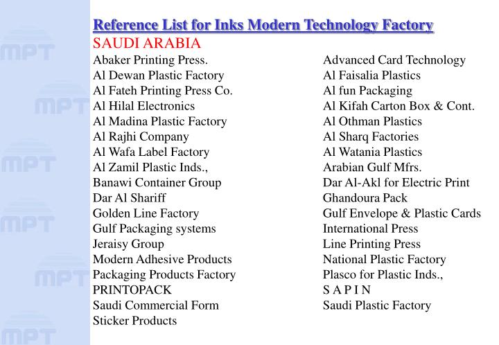Reference List for Inks Modern Technology Factory