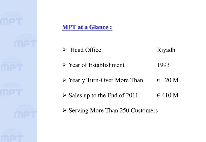 MPT at a Glance :
