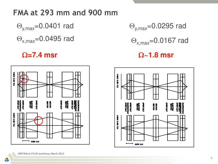FMA at 293 mm and 900 mm
