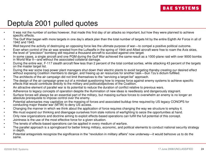 Deptula 2001 pulled quotes