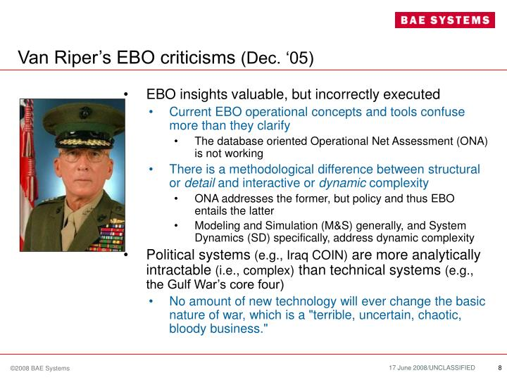 Van Riper's EBO criticisms