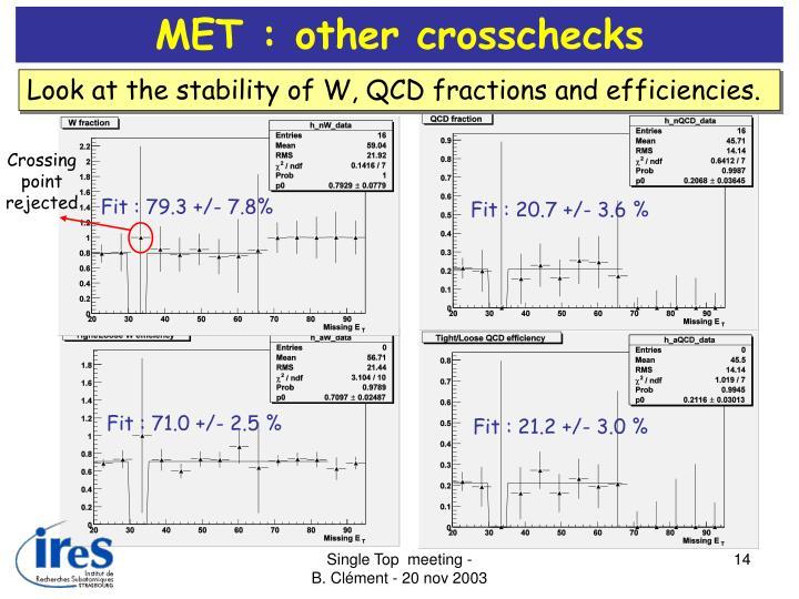 MET : other crosschecks
