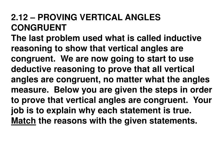2.12 – PROVING VERTICAL ANGLES CONGRUENT