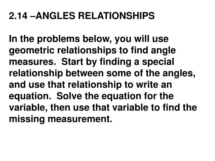 2.14 –ANGLES RELATIONSHIPS