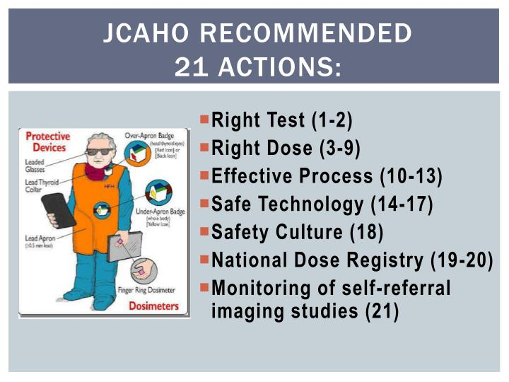 JCAHO Recommended                  21 Actions: