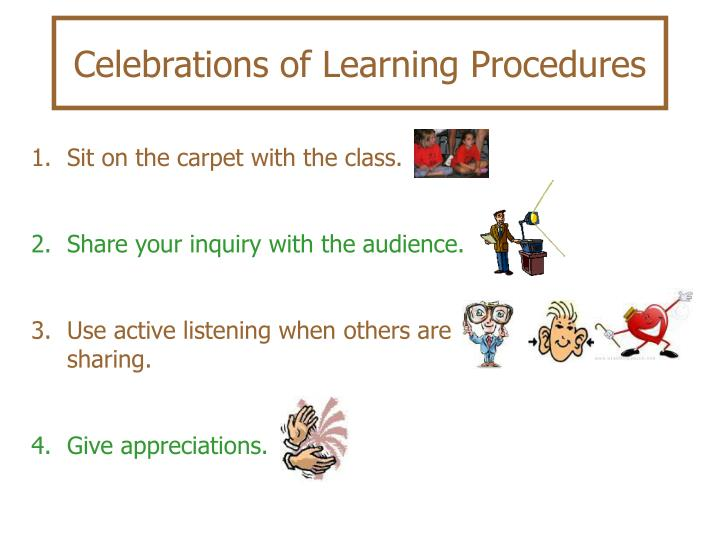 Celebrations of Learning Procedures