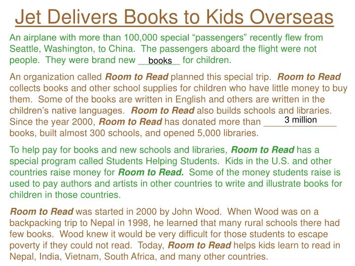 Jet Delivers Books to Kids Overseas