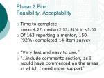 phase 2 pilot feasibility acceptability