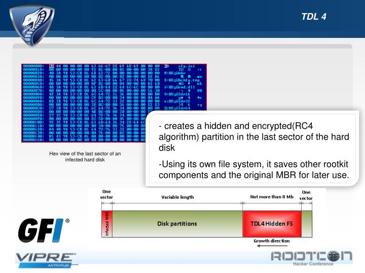 - creates a hidden and encrypted(RC4 algorithm) partition in the last sector of the hard disk