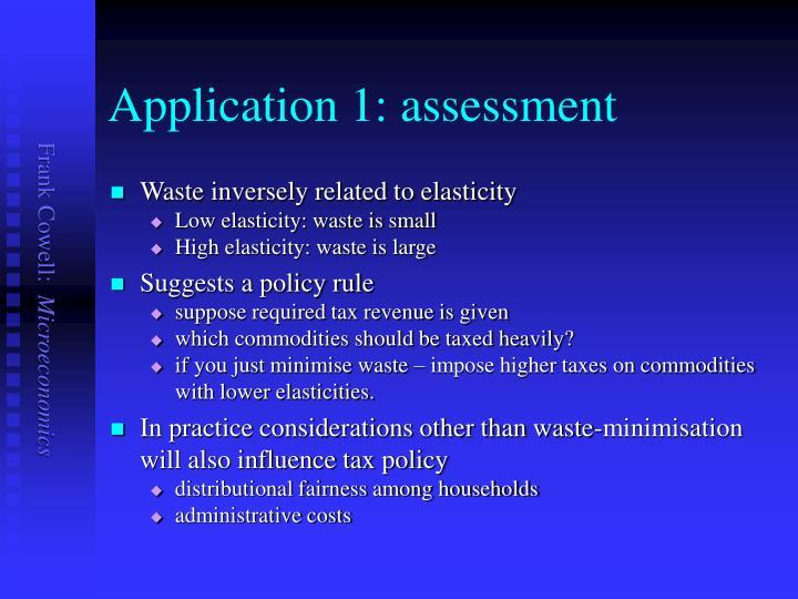 Application 1: assessment