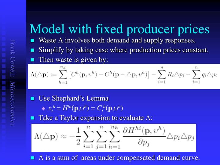 Model with fixed producer prices