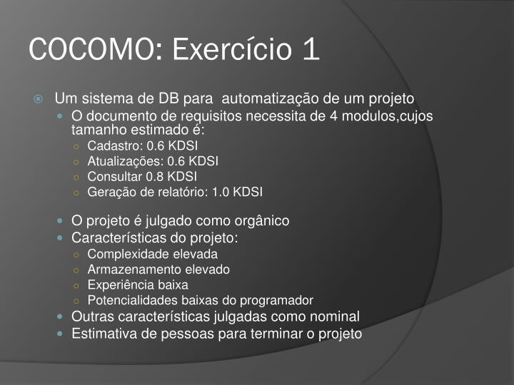 COCOMO: Exercício 1