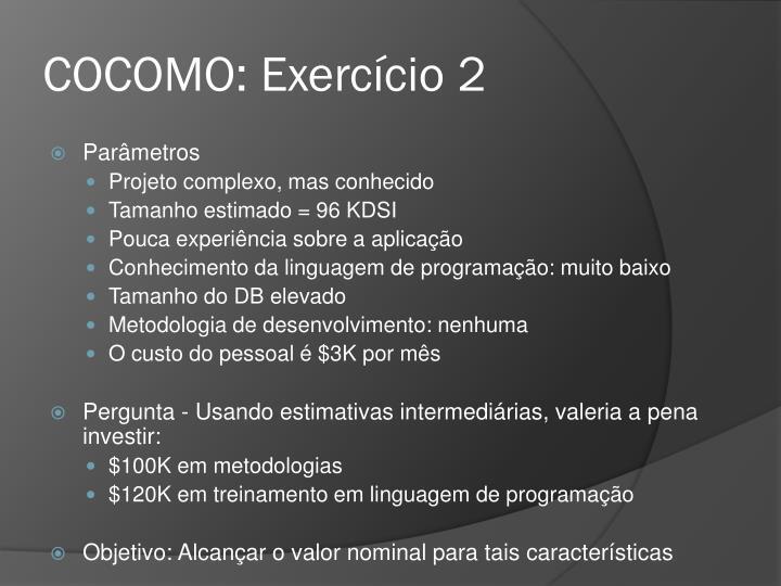 COCOMO: Exercício 2