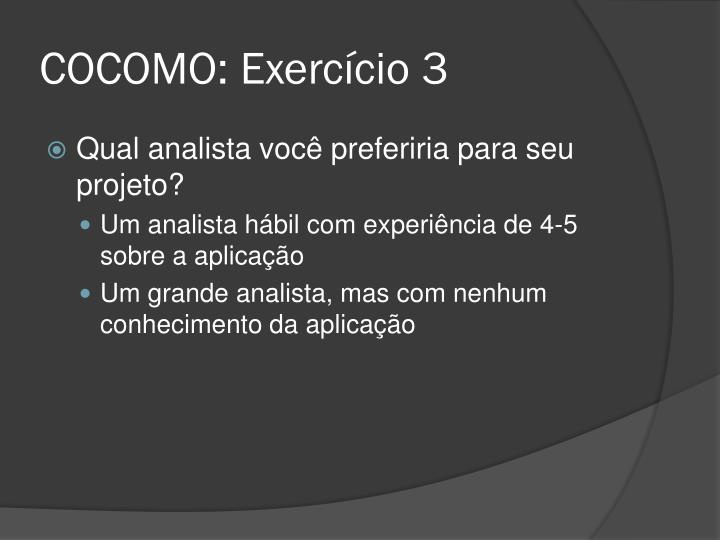 COCOMO: Exercício 3