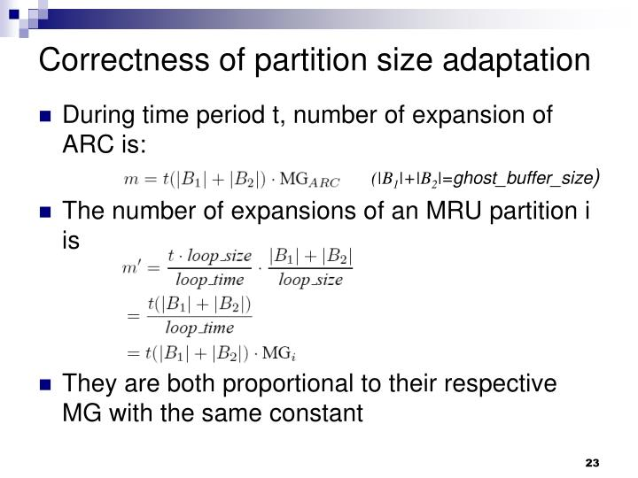 Correctness of partition size adaptation