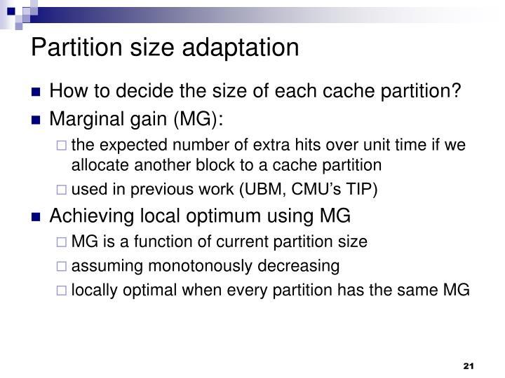 Partition size adaptation