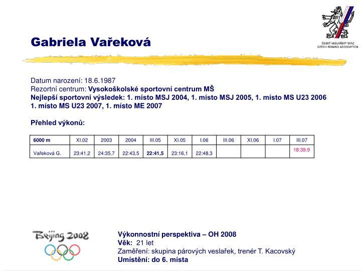 Gabriela Vařeková