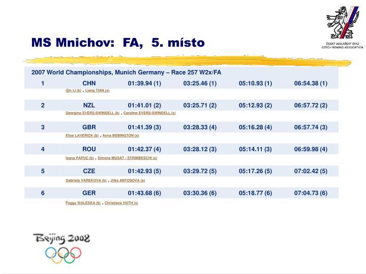 MS Mnichov:  FA,  5. místo