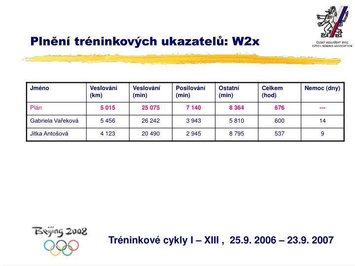Plnění tréninkových ukazatelů: W2x