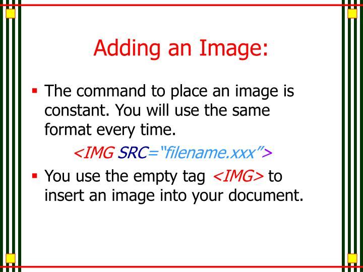 Adding an Image: