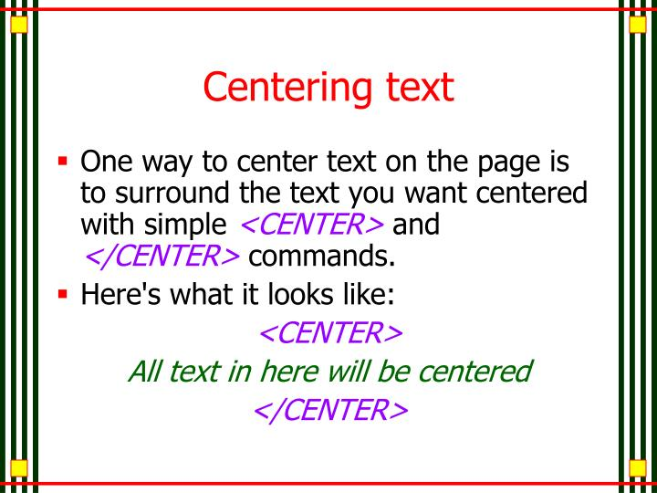 Centering text