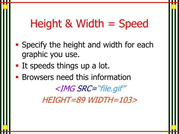 Height & Width = Speed