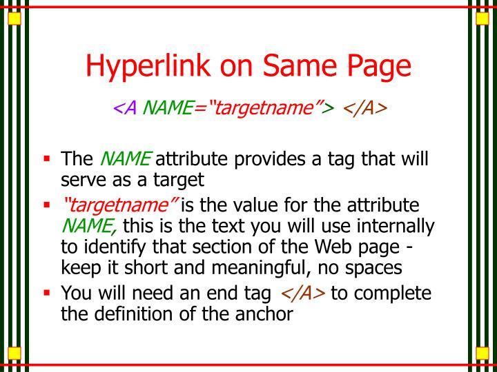 Hyperlink on Same Page