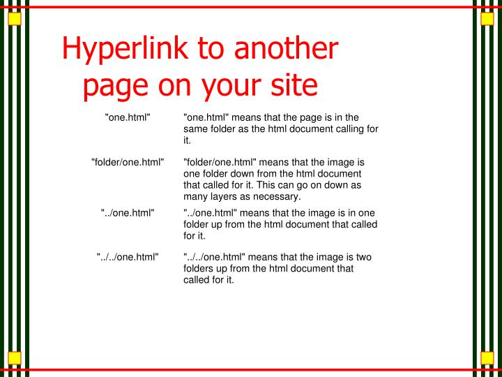 Hyperlink to another page on your site