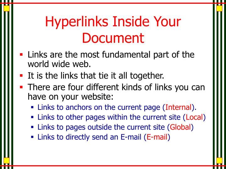 Hyperlinks Inside Your Document