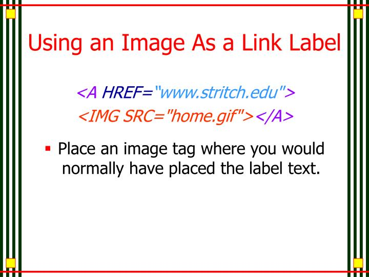 Using an Image As a Link Label