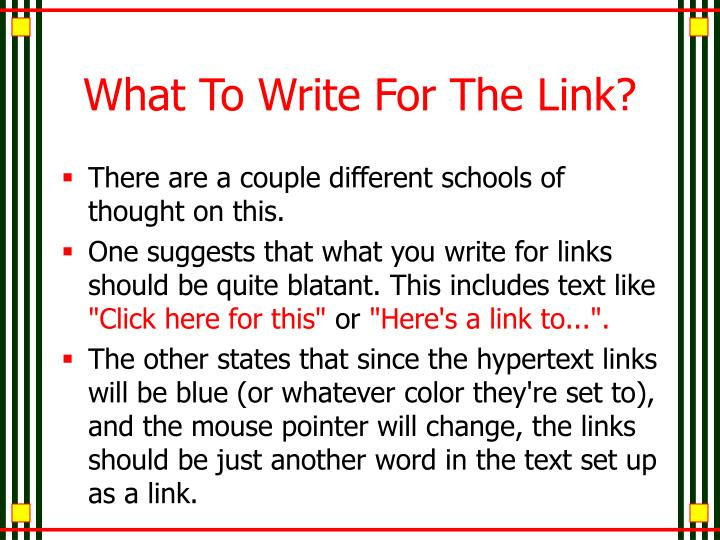 What To Write For The Link?