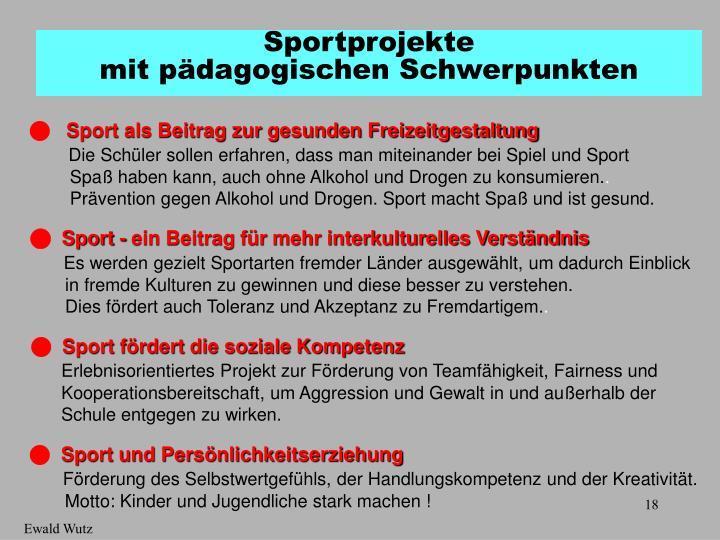 Sport als Beitrag zur gesunden Freizeitgestaltung