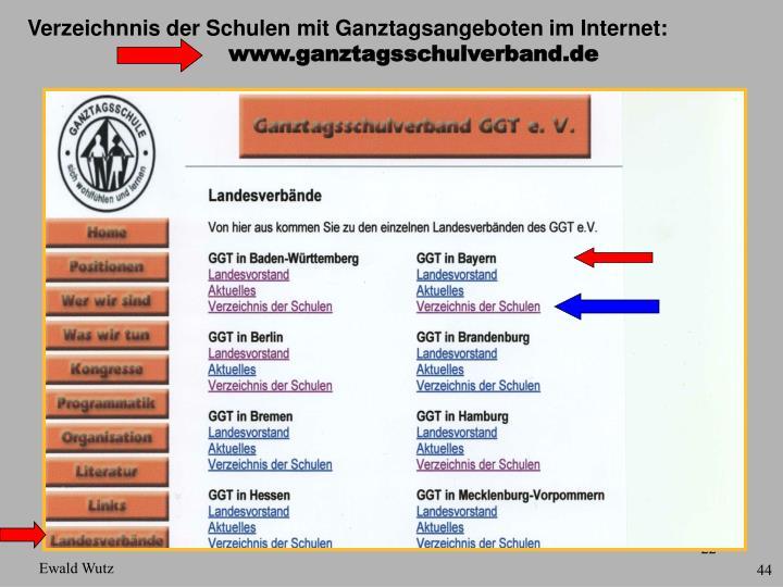 Verzeichnnis der Schulen mit Ganztagsangeboten im Internet:
