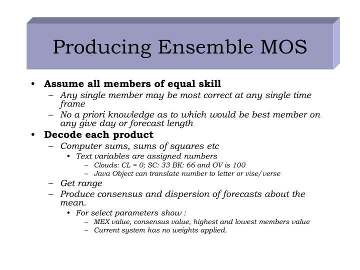 Producing Ensemble MOS