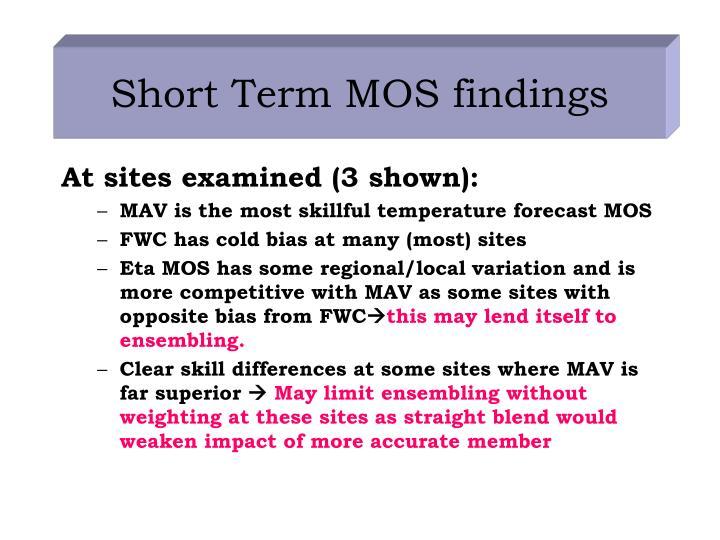 Short Term MOS findings